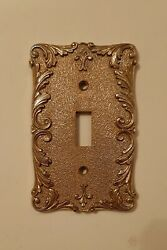 Vintage light switch plate wall cover metal fleur de lis brass plated Italy $11.00