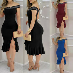 Women Off Shoulder Bodycon Ladies Cocktail Evening Party Ball Gown Midi Dress $22.41