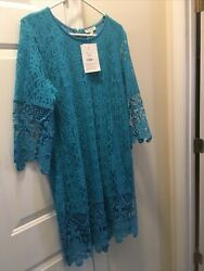 kings road womens XL Blush lace dress 3 4 sleeves Summer Spring $19.99