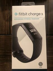 Fitbit Charge 3 Fitness Activity Tracker Black Small Large Sizes $75.00