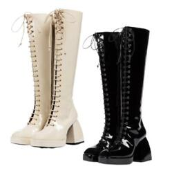 New Women Lace Ups Punk Casual Square Toe Platform Knee High Boots Western 43 L $104.30