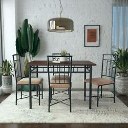 5 Piece Dining Set Wood Metal 4 Chairs amp; Table Kitchen Breakfast Furniture NEW $167.13