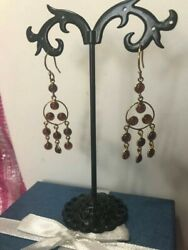 Indian Garnet Earrings in Yellow Gold Over Sterling Silver $15.00