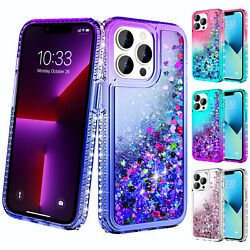 Luxury Liquid Case Shockproof Glittering Bling Cover For iPhone 12 13 Pro Max $3.99