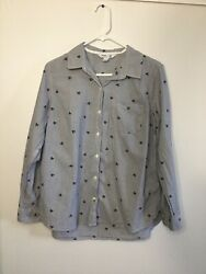 Old Navy Size Large Novelty Black Cat Print Gray Striped Classic Button Up Shirt $18.00