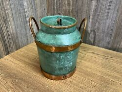 Copper Bucket with Enamel Painted Sides Hand Hammered With Riveted Trim L7 $24.99