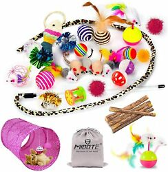 28 PCs Cat Toys Kitten Toys Assorted Cat Tunnel Catnip Fish Feather Teaser Wand $16.99