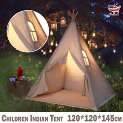 Large Canvas Children Indian Tent Teepee Play Sleeping Indoor Outdoor Dome US $28.99