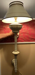 Vintage Metal Tole Wall Sconce Wall Lamp Ivory And Gold $100.00
