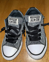 Converse All Star Kids Shoes Size 11 Black White Fabric $10.00