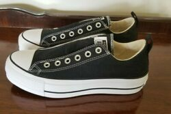 Converse all star womens 8 Platform no laces Sneakers NEW black fit a womens 9 $65.00