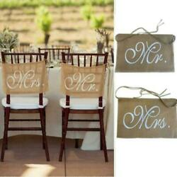 Hessian Mr And Mrs Chair Sigs Rustic Burlap Chair Banner Diy Wedding Decor Party $8.60