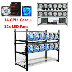 Open Air Mining Rig Stackable Frame 14 GPU Case For BTC ETH Z Cash $275.00