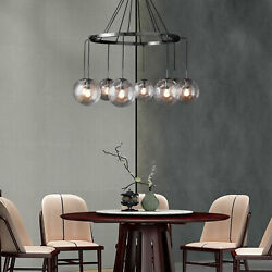 Black Crystal Industrial Clear Glass Ball Chandelier Room Ceiling Lamp 8 Lights $262.58