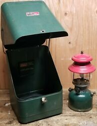 Vintage Coleman 200A 8 51 Red Green Lantern With Green Metal Coleman Carry Case $799.99