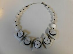 Vintage Black White MOP Lucite Acrylic Beaded Modernist Necklace $22.99