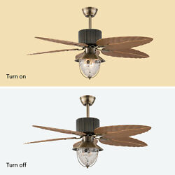 5 Palm Leaf Reversible Ceiling Fan With Light Kit Remote Control LED Fixtures US
