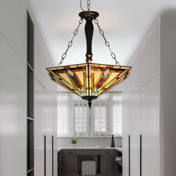 Vintage Reverse Hanging Chandelier 5 Light Stained Glass Pendant Ceiling Fixture $168.29