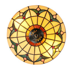 Vintage Mini Chandelier Tiffany Stained Glass Style Flush Mount Ceiling Light $54.99
