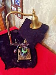 Vintage Desk lamp with green agate and cast iron base $45.00