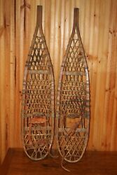 Vintage SNOWSHOES 46 x 10 PATINA Snow Shoes LEATHER BINDINGS NICE $199.99