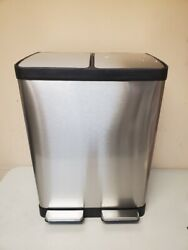 iTouchless SoftStep 16 Gallon Step Trash Can amp; Recycle Bin Missing 1 Liner USED