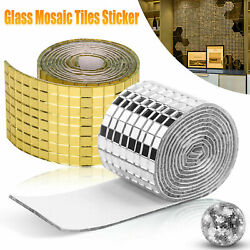 1 Roll Mirror Glass Mosaic Tiles Self Adhesive Wall Sticker Decal Home Decor $6.99