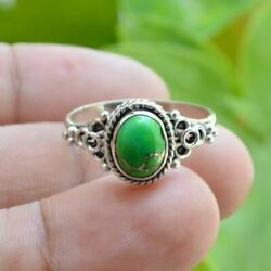 925 sterling Silver Oval Green Copper Turquoise Handmade 100% GENUINE Ring $13.49
