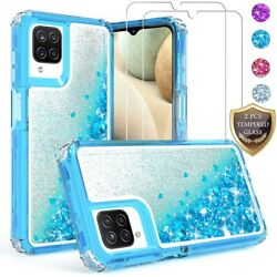 For Samsung Galaxy A12 Case Liquid Bling CoverTempered Glass Screen Protector $9.96