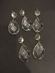 5 Vintage Chandelier Tear drop Glass Crystal Replacement Prisms 3quot; Approximately $15.83