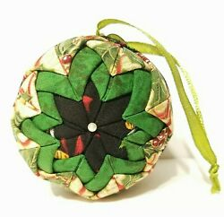 Hand Quilted Folded Fabric Star Christmas Ball Ornament Green Red Black Holly $15.99