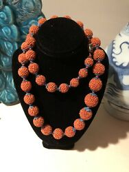 Antique Red Coral Rice Beads Necklace and earrings Qing Dynasty 珊瑚辑米珠球 $3950.00