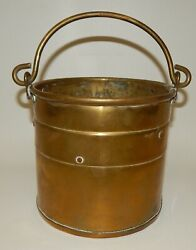 Vintage Country Farm Kitchen Copper Bucket with Bail Handle $84.99