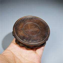 Secondhand Chinese Hand Carving Round Wooden Base Stand Diameter 83 mm $6.90