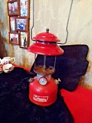 Vintage 1965 Red Coleman single mantle lantern 200A with Pyrex Coleman globe $150.00