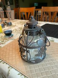 Butterfly Tin Lantern Candle Holder for Pillar Candle with Dome and Lid $10.99