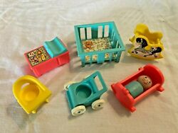 Fisher Price Vintage Little People Nursery Baby Furniture and Wood Boy Baby $34.99