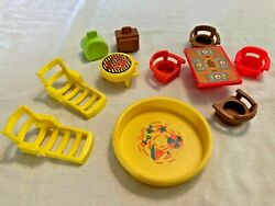 Fisher Price Vintage Little People Furniture Suitcases and Pool $19.99