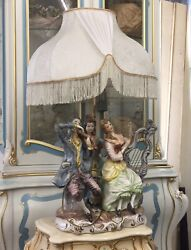 """Italian Antique Large 37"""" French Victorian Capodimonte Porcelain Lamp Italy $690.00"""