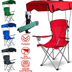 Portable Foldable Camping Chair Beach Outdoor Backpacking w Canopy amp; Cup Holder $47.28