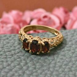 3Ct Oval Cut Three Stone Red Garnet Vintage Engagement Ring 14K Yellow Gold Over $103.99