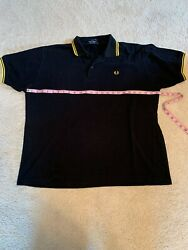 Fred Perry Black Yellow Gold Twin Tipped Cotton Polo Shirt Mens XL $49.00
