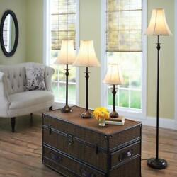 4 Piece Table and Floor Lamp Set Traditional Home No Light Bulb Bronze NEW $69.04