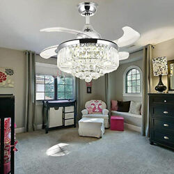 42quot; 36quot; Crystal Chandelier Invisible Ceiling Fan Light w 3 Color LED Remote RC $155.80
