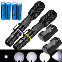 2 Pack 1000000Lumens Ultra Brightest LED Flashlight Rechargeable Torch Zoomable $21.78