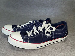 mens converse one star size 12 navy blue denim with red trim $24.95