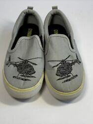 Gymboree Helicopter Gray Canvas Slip On Loafer Casual Shoes Toddler Size 12 $12.37