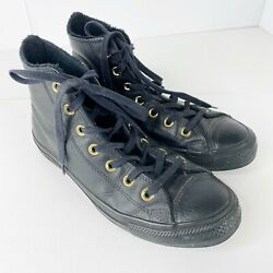 Converse All Star Winter Faux Fur Lined Hi Top Shoes Sneakers Black Leather Sz 8 $24.99