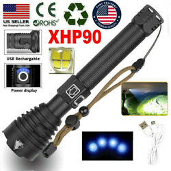 High Powered Tactical LED Flashlight Super Bright XHP90 USB Rechargeable Torch $18.99