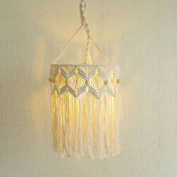 Retro Macrame Lamp Shade Woven Boho Chandeliers Hanging Lampshade Cover $39.34